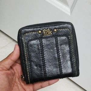 "THE SAK 4""x4"" black leather wallet"